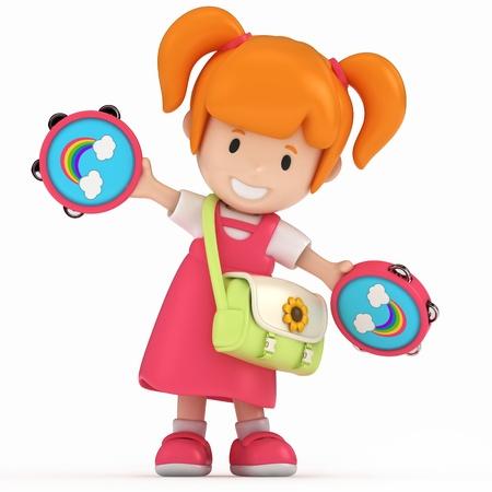 tambourine: 3D rendering di Kid con tamburello
