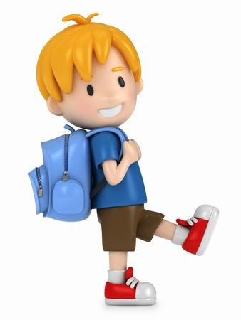 3D Render of Little Boy Walking