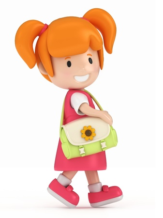 pre school: 3D Render of Little Girl Walking Stock Photo