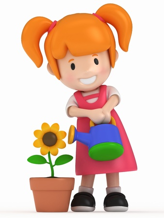 pre school: 3D Render of Little Girl and Flower