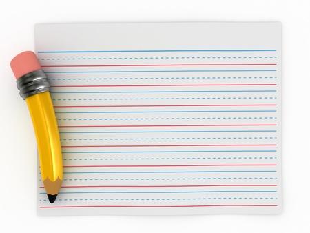 lapiz y papel: Render 3D de papel de escribir