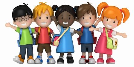 3D Render of School Kids Stock Photo