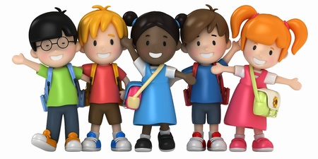 pre school: 3D Render of School Kids Stock Photo