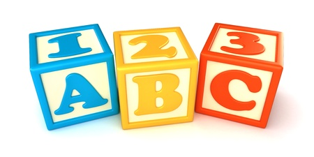 abc blocks: 123 and ABC building blocks with apple on white background