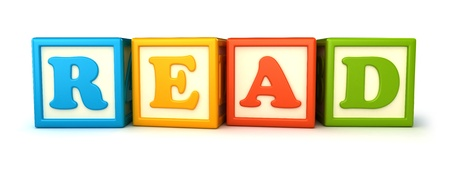 yellow block: Alphabet building blocks that spelling the word read