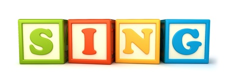 Alphabet building blocks that spelling the word sing Фото со стока