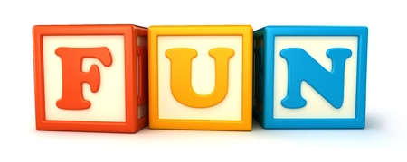 Alphabet building blocks that spelling the word fun Stock Photo