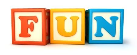 Alphabet building blocks that spelling the word fun Stock Photo