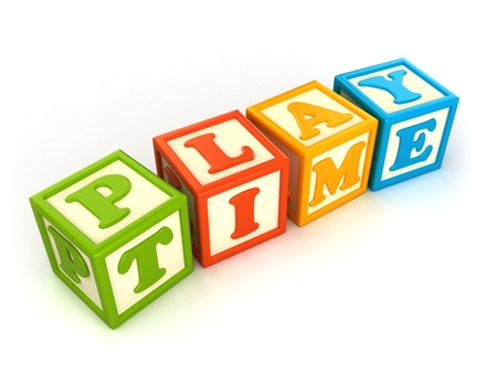 play time: Alphabet building blocks that spelling the word play time Stock Photo