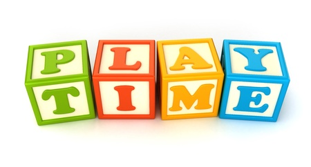 play blocks: Alphabet building blocks that spelling the word play time Stock Photo