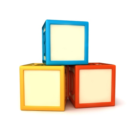 blue 3d blocks: Blank building blocks