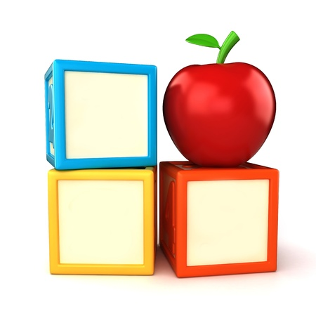 Blank building block with apple