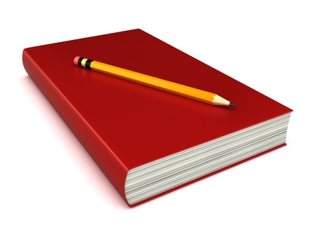 3d render of a thick red book with pencil on top Stock Photo - 15475051