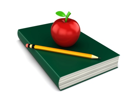 red book: 3d render of a thick red book with apple and a pencil on top