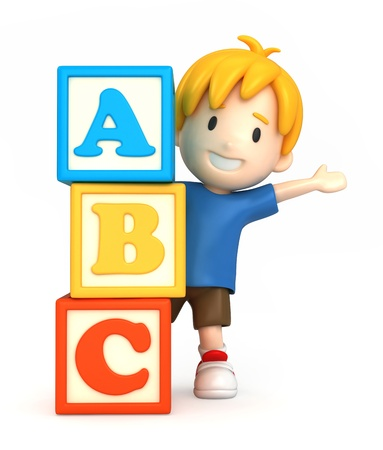 educational: 3d render of a boy and building blocks with ABC Stock Photo