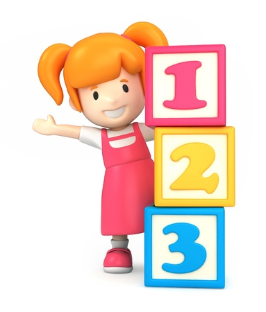 3d render of a girl and building blocks with 123
