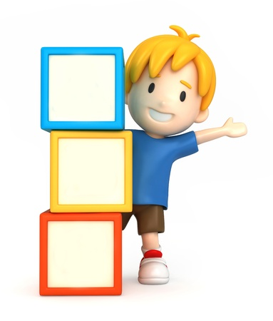 cute clipart: 3d render of a boy and blank building blocks Stock Photo