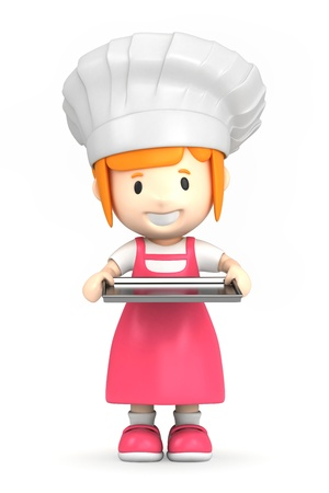 learning to cook: 3d render of a little baker