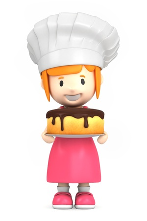 professions: 3d render of a little baker