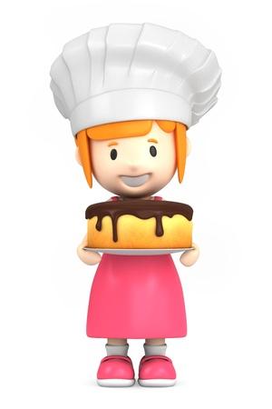 professions: Render 3D de un pequeño panadero