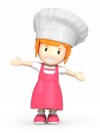 chef clipart: 3d render of a little baker