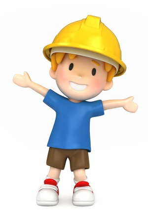 3d render of a little engineer/architect Stock Photo - 15474841