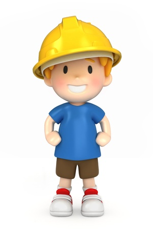 3d render of a little engineer/architect Stock Photo - 15474840