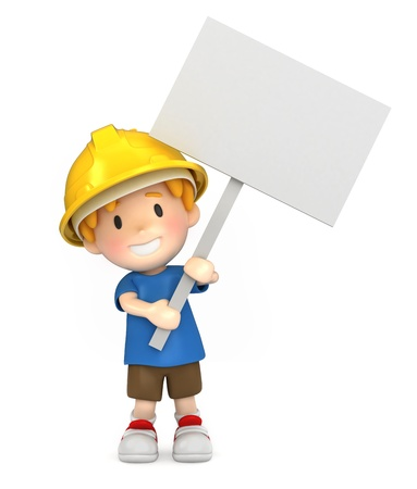 3d render of a little engineer/architect Stock Photo - 15474836