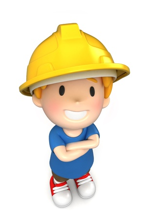 3d render of a little engineer/architect Stock Photo - 15474837