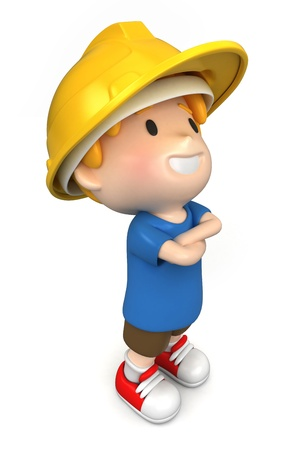 3d render of a little engineer/architect Stock Photo - 15474846