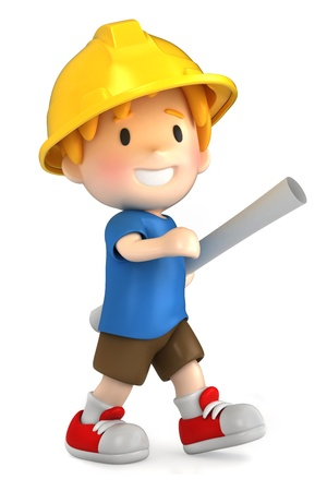 3d render of a little engineer/architect Stock Photo - 15474850