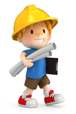 3d render of a little engineer/architect Stock Photo - 15474918