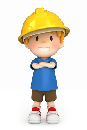 3d render of a little engineer/architect Stock Photo - 15474838
