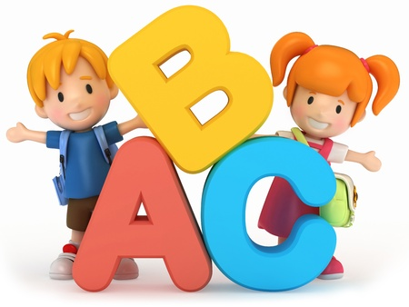 writing activity: 3D render of school kids with ABC