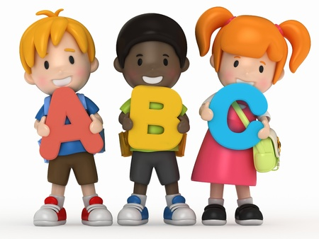 writing activity: 3D render of school kids holding ABC