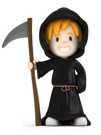 3d halloween: 3D render of a grim reaper kid Stock Photo