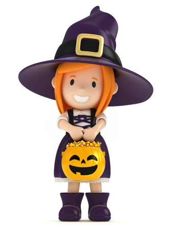 cemetry: 3D render of a witch kid