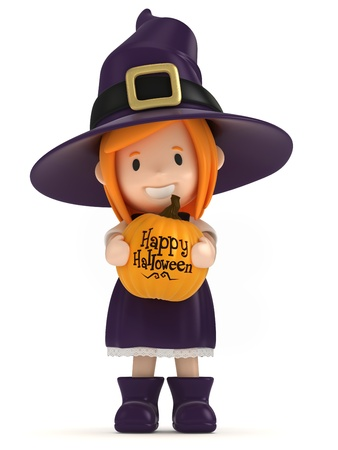 3d witch: 3D render of a witch kid holding a pumpkin Stock Photo