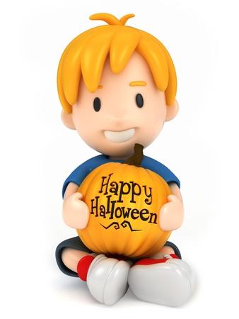 3D render of a boy holding a pumpkin Stock Photo