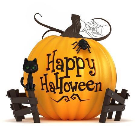 citrouille halloween: 3D rendent d'une citrouille d'halloween