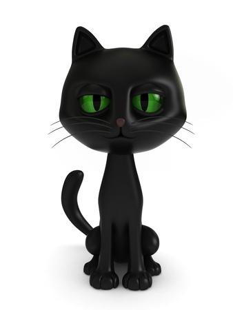 gato negro: Render 3D de un gato negro