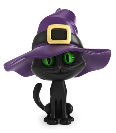sorci�re halloween: 3D rendent d'un chat de sorci�re noire