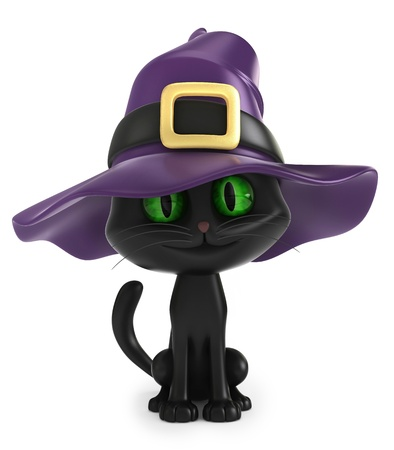 3D render of a black witch cat Stock Photo