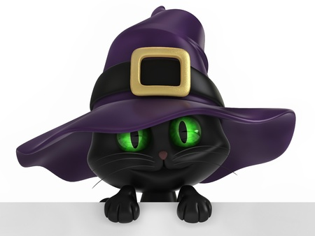 3d scary: 3D render of a black witch cat Stock Photo