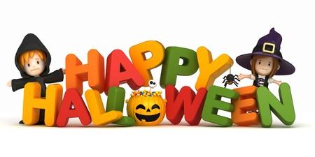 3D render de los niños en traje de halloween y la palabra