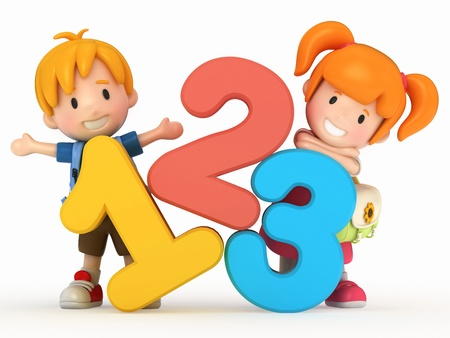 numbers clipart: 3D render of school kids with 123