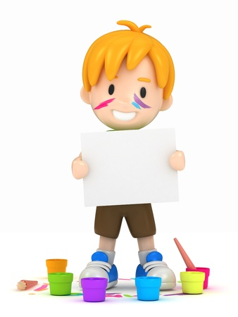 pal: 3D render of school kid with canvas Stock Photo
