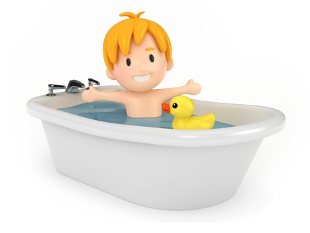 rubber ducks: 3D render of a kid taking a bath Stock Photo