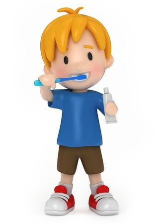 higiene bucal: Render 3D de un ni�o cepillarse los dientes