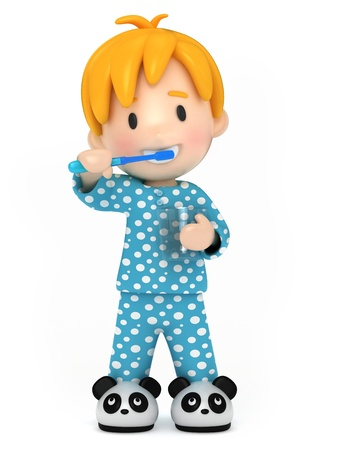 child standing: 3D Render of a kid brushing his teeth